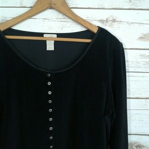 J. Jill Retro Black Velvet Button Front Top